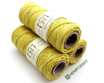 Hemp Twine, Yellow - High Quality 1mm Daffodil Colored Craft Cord