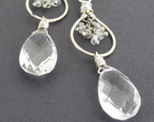Quartz Earrings, Quartz and Sterling Silver Earrings, Moonstone, Handmade in the USA, Gemstone Earring, Clear Quartz Teardrops, Rock Crystal