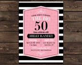 50th Birthday Invitation, Pink and Black Invitation, Adult birthday invite, printable invitation, Fiftieth Birthday, DIY invite