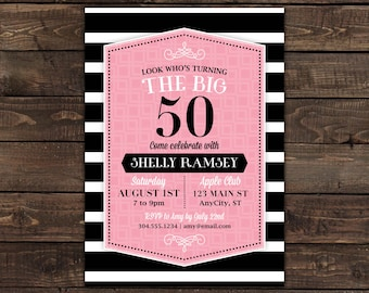 50th birthday invitation for women, Pink and Black Invitation, Adult birthday invite, printable invitation, Fiftieth Birthday, DIY invite