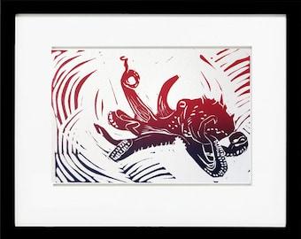 Octopus, Original Linoleum Block Print