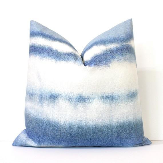 Blue Dip Dye Decorative Designer Pillow Cover Accent Throw