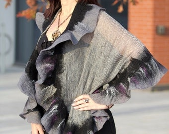 Nuno felted shawl wrap / handfelted / merino wool / silk