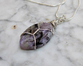 Violet Charoite Eye OOAK Crown Chakra Healing Pendant with Sterling Silver Chain