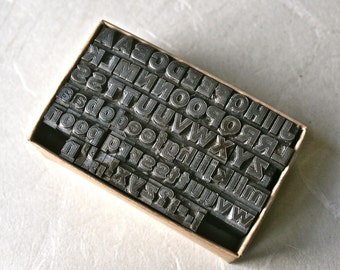 Small Vintage Letterpress Type Capitals and Lower Case with Punctuation for Printing Stamping and Decor