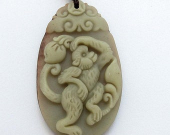 Chinese Zodiac Monkey Talisman Pendant Two Layer Natural Stone 40mm*24mm  ZP063