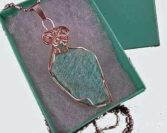 Hand-Polished, Rough Amazonite Necklace, Copper, WICCA, Jewelry, Pendant