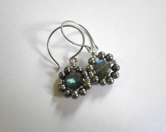 Delicate Pearl Flower Labradorite Earrings Silver Circle Earrings Small Pear Drop Gemstone Dangles June Birthstone