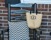 Medium Monogrammed Natural Straw Tote Bag with Black or Tiffany Blue / Aqua / Teal Handles