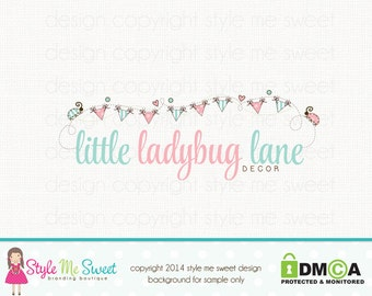 Premade Logo Bunting Logo Ladybug Logo Photography Logo Children's Boutique Logo Party Boutique Logo Hand Drawn Logo Design