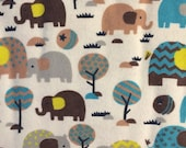 Jungle Elephants - FLANNEL Fabric - BTY