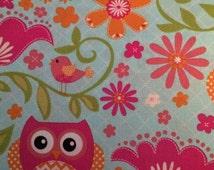Garden Owls - cotton quilting Fabric - 1 yard