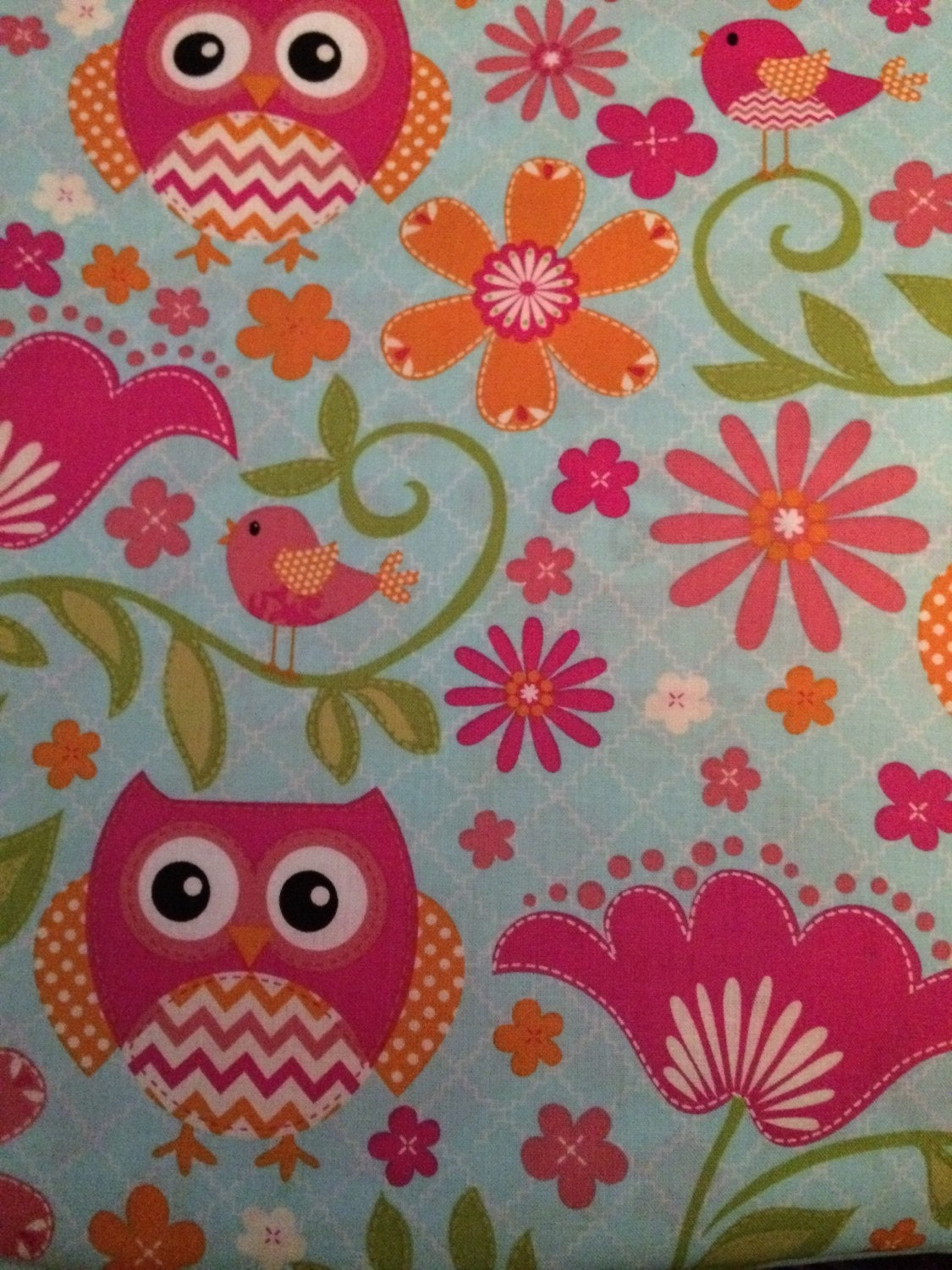Garden owls cotton quilting fabric 1 yard for Cotton quilting fabric