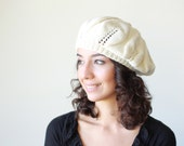 Women slouch knit hat (slightly slouchy beret cream Winter ladies beanie)