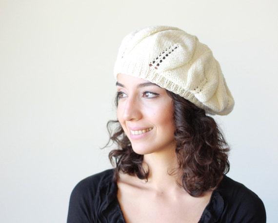 Women slouch knit hat (slightly slouchy beret cream Winter ladies beanie)