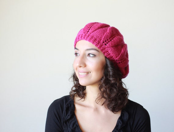 Orchid knit hat, Adult beanie hat, Slouchy hat beanie, Women hat Orchid Rose, Knit beanie hat