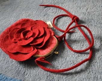 felted red rose bag, -50% off