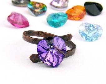 Swarovski heart ring in 12 colors, customized mother ring, romantic rustic crystal jewelry gift from husband boyfriend