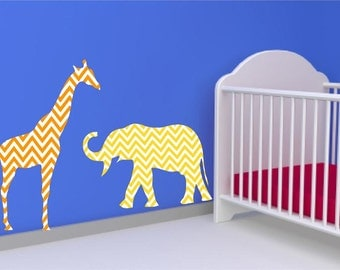 Giraffe Wall Decal, Elephant Wall Decal, Chevron Pattern, Animal Decal Set, Nursery Wall Decor, Children Room Decals, Baby Room Decor,