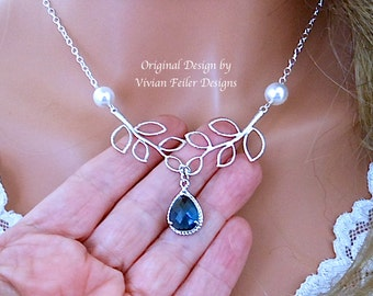 BLUE WEDDING Jewelry Y Pearl Necklace Sapphire Blue Bridesmaid Gift Bridal Wedding Jewellery
