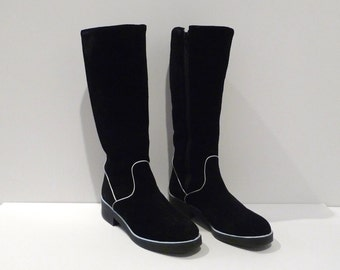 Hush Puppies Boots Vintage Black Suede Leather Boots Size 9 Black with white piping trim 1990s Lined Weatherproof Flats Knee Boots Preppy