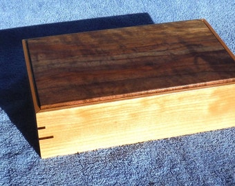 Curly Western Maple and Walnut Tilt Top Box