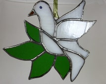 Stained Glass White Christmas Dove of Peace with Olive leaves MTO