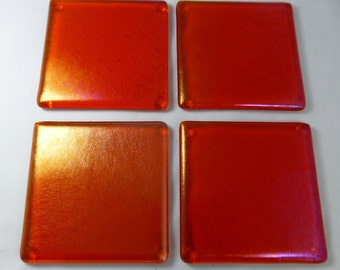 Fused Glass Coasters with Iridescent  Tangerine Orange Design - set of 4