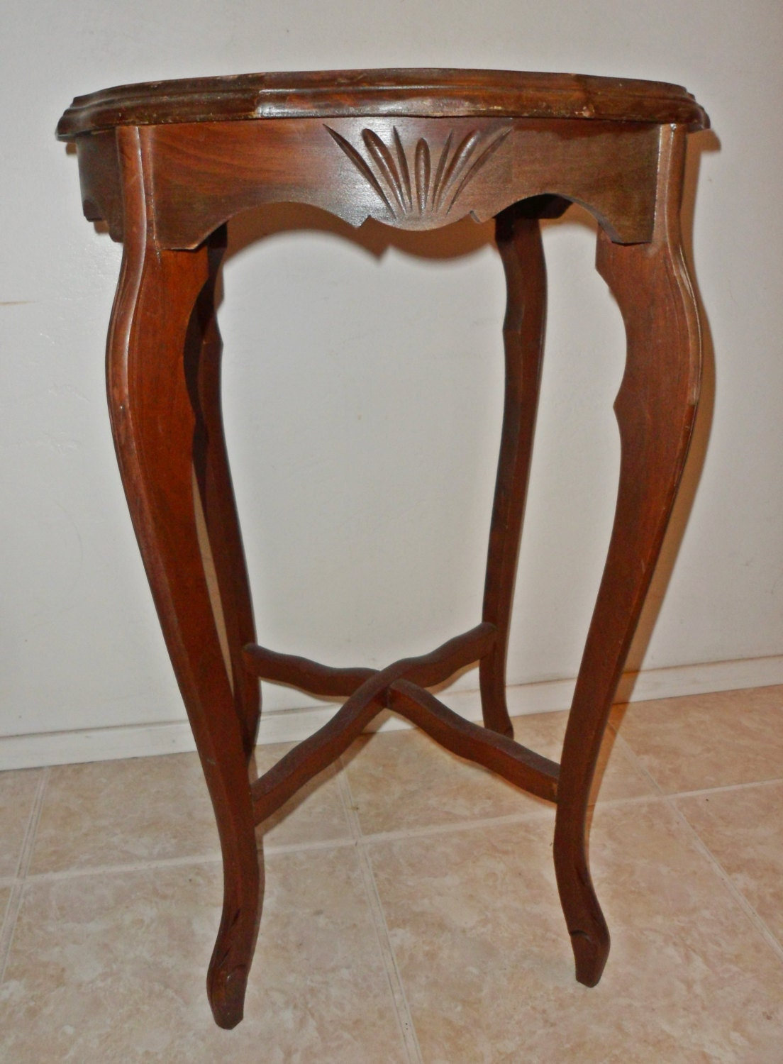 Antique inlaid carved wood french country side table by