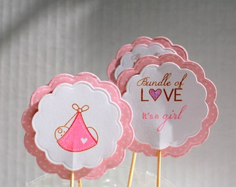 Baby shower cupcake picks, Cupcake picks, Baby shower decor, Baby girl cupcake pick