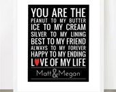 You Are the Peanut to My Butter - Couples Names Version - 8x10 Fully Customizable - Great for Weddings and Anniversary Gifts