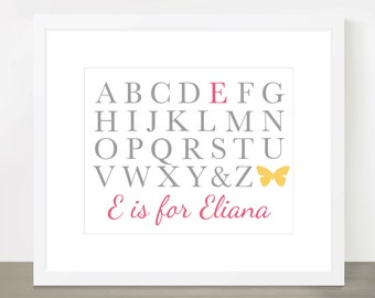 ABC Name Print - Customizable 8x10, 11x14, 16x20, Nursery, Wall Decor, Kids, Bedroom, Childrens Room, New Baby Gift, Print in Many Colors