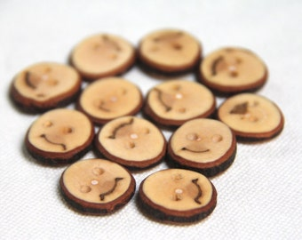 12 tiny maple buttons