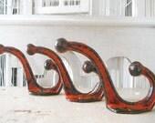red wall hooks farmhouse hooks distressed hooks bathroom decor bedroom decor coat hook jewelry hooks clothing hook rustic chic PAIR OR TRIO