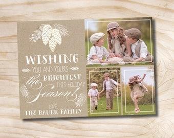 Kraft Pinecone Photo Christmas Card - Printable Holiday Card