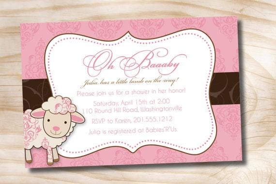 little lamb sheep baby shower invitation - printable digital file, Baby shower invitations