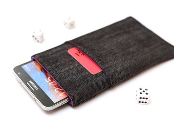 Galaxy Note 7, Note 5, Note Edge, Note 4, 3 sleeve case cover pouch handmade dark jeans and purple with a pocket