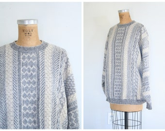 Italian wool & mohair sweater - vintage 80s ski crewneck / Ghinea - Italy / arctic steel blue . winter white