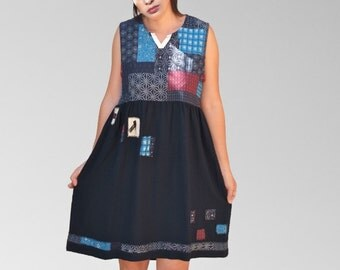 Recycled dresses in navy blue cotton /red, turquoise, pink, lace patchwork style fabric women dress,