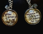 Glitter German glass dictionary page glitter sparkle pendant necklace