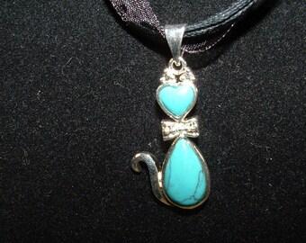 Black ribbon necklace with turkite cat gemstone pendant