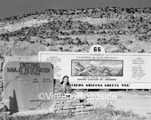 Vintage Arizona Route 66 billboard. 1950s. Print from an original 4x5 negative. Mid-century road trip. Route 66 Decor.