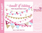 Valentine's Day Bunting Clipart | String of Lights Clip Art | Digital Bunting | Valentine Clip Art