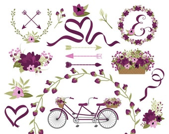 Bicycle Clip Art | Wedding Bicycle Graphics | Spring Flower Bicycle | Wreath Clip Art | Ribbon Clip Art | Digital Laurels