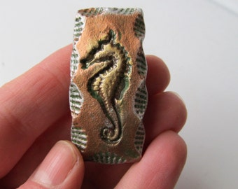 Barrette Seahorse Impression in Clay on French Style Hair Clip