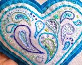 Blue Heart Pincushion Paisley Decoration OOAK Handmade Embroidery Felt Valentines Day  1 pin cushion