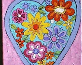 "Heart, Pink, Flowers, Original Painting, Acrylic Painting, Love, Romance, Children's Room, Kitchen Art, Nursery,  8"" x  10"""