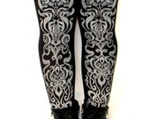 Art Nouveau Print Tights Silver on Black Large Womens Fashion Metallic Legwear Winter Steampunk Dolly Kei