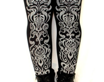 Art Nouveau Print Tights Silver on Black Medium Tall Fashion Metallic Legwear Winter Steampunk Dolly Kei
