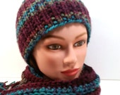 BEAUTIFUL winter set: SCARF and HAT. Variegated colors in maroon, turquoise, moss green. Fringe. Crocheted scarf. Knitted hat. Adult set.